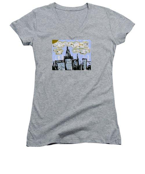 City In Blue Women's V-Neck T-Shirt