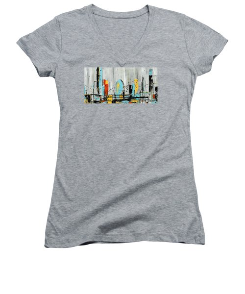 Women's V-Neck T-Shirt (Junior Cut) featuring the painting City Limits by Carmen Guedez