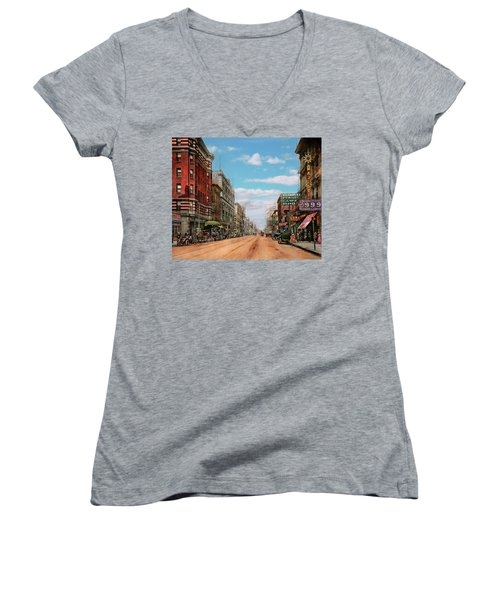 Women's V-Neck T-Shirt (Junior Cut) featuring the photograph City - Memphis Tn - Main Street Mall 1909 by Mike Savad