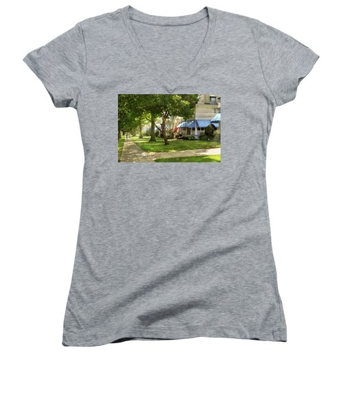 Women's V-Neck T-Shirt featuring the photograph City - Naval Academy - A Walk Down Captains Row by Mike Savad