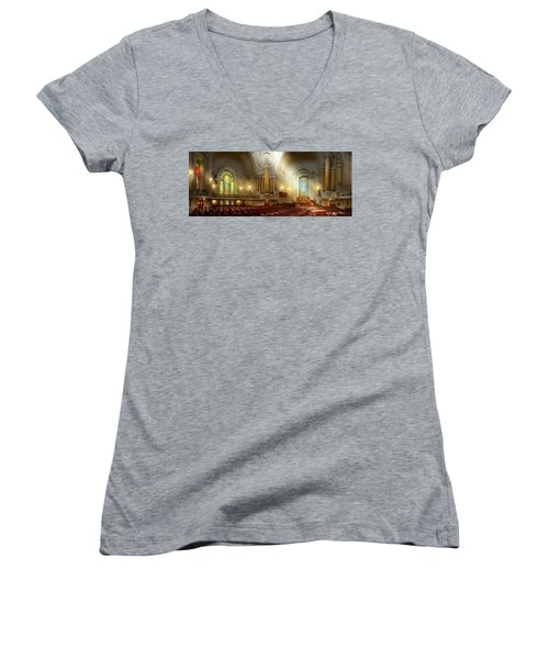 Women's V-Neck T-Shirt featuring the photograph City - Naval Academy - The Chapel by Mike Savad