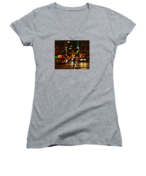 City Nights, City Lights Women's V-Neck T-Shirt (Junior Cut) by Jeffrey Friedkin