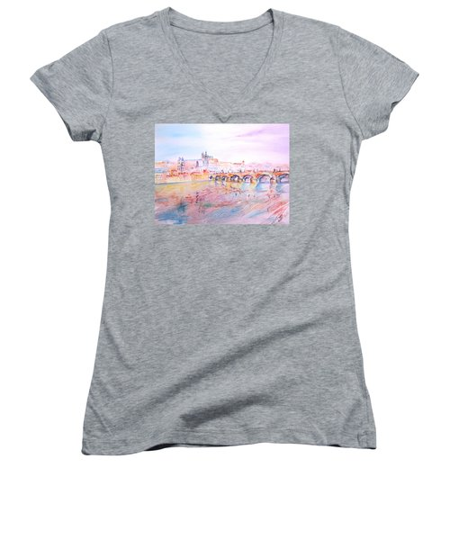 Women's V-Neck T-Shirt (Junior Cut) featuring the painting City Of Prague by Elizabeth Lock