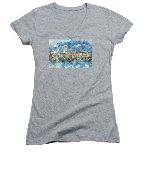 City Of Split In Croatia With Birds Flying In The Sky Women's V-Neck (Athletic Fit)