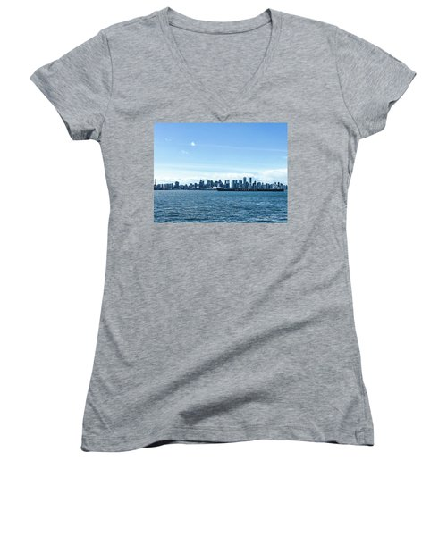 City Of Vancouver From The North Shore Women's V-Neck (Athletic Fit)