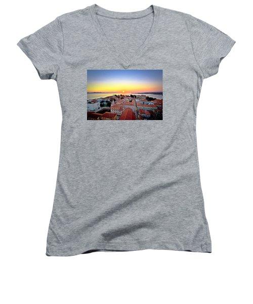 City Of Zadar Skyline Sunset View Women's V-Neck (Athletic Fit)