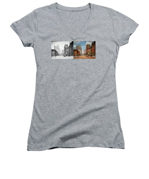 Women's V-Neck T-Shirt featuring the photograph City - Pa Philadelphia - Broad Street 1905 - Side By Side by Mike Savad