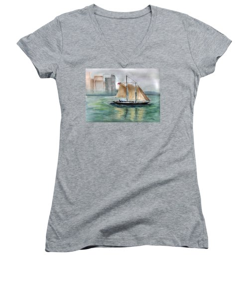 City Sail Women's V-Neck T-Shirt (Junior Cut)
