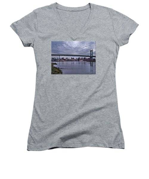 City Scape From Astoria Park Women's V-Neck T-Shirt (Junior Cut) by Mikki Cucuzzo