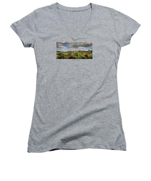 City Skyline Women's V-Neck T-Shirt (Junior Cut) by Everet Regal