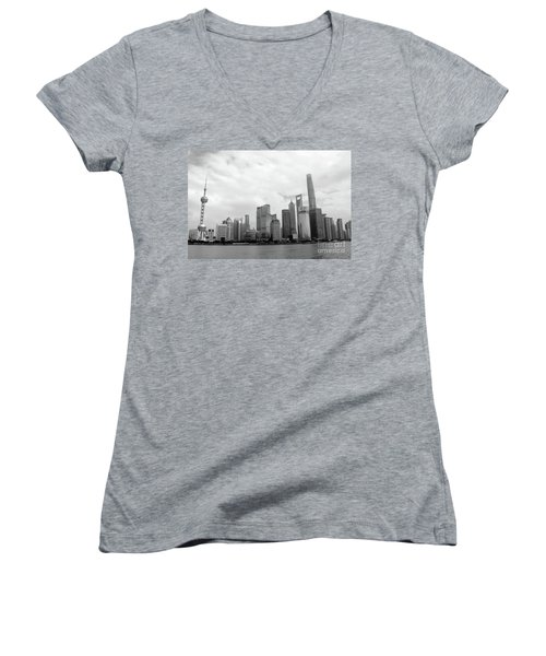 Women's V-Neck T-Shirt (Junior Cut) featuring the photograph City Skyline by MGL Meiklejohn Graphics Licensing