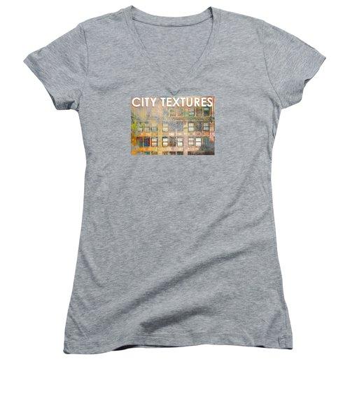 City Textures Windows Women's V-Neck T-Shirt (Junior Cut) by John Fish