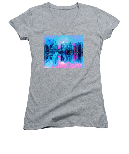 City Twilight Women's V-Neck T-Shirt (Junior Cut) by Holly Martinson
