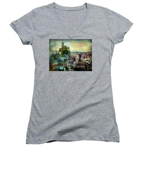 Cityscape 38 - Homeless Angels Women's V-Neck T-Shirt (Junior Cut) by Alfredo Gonzalez