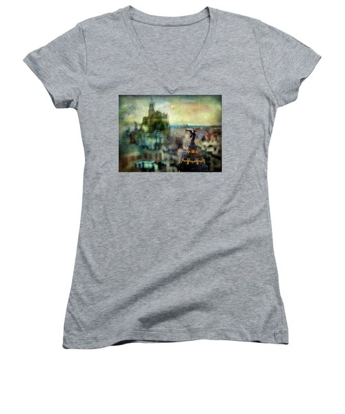 Cityscape 38 - Homeless Angels Women's V-Neck (Athletic Fit)