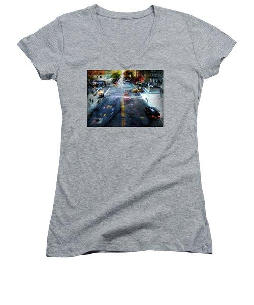 Cityscape 39 - Crossroads Women's V-Neck T-Shirt (Junior Cut) by Alfredo Gonzalez