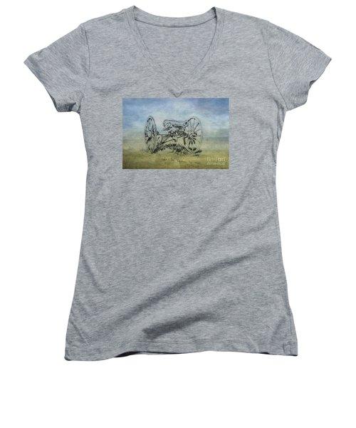 Civil War Cannon Sketch  Women's V-Neck T-Shirt (Junior Cut) by Randy Steele