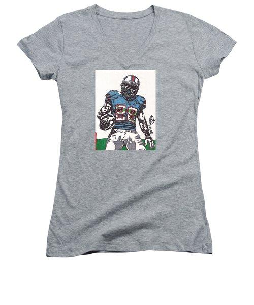 Cj Spiller 1 Women's V-Neck T-Shirt (Junior Cut) by Jeremiah Colley