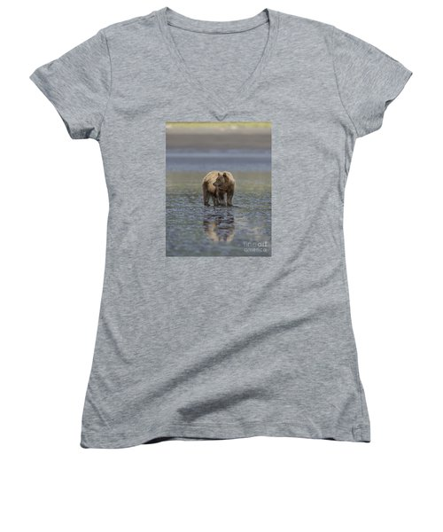 Women's V-Neck T-Shirt (Junior Cut) featuring the photograph Clamming The Day Away by Sandra Bronstein