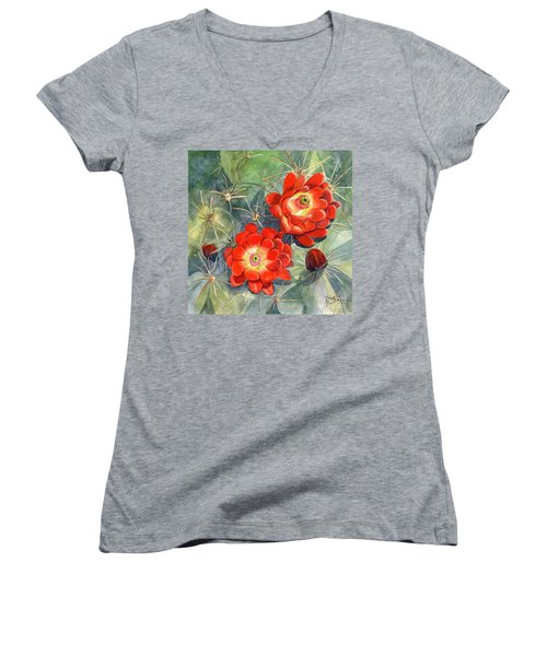 Claret Cup Cactus Women's V-Neck T-Shirt (Junior Cut) by Marilyn Smith