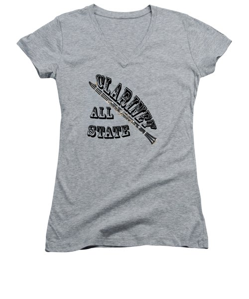 Clarinet All State Women's V-Neck T-Shirt (Junior Cut) by M K  Miller