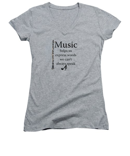 Clarinet Music Expresses Words Women's V-Neck