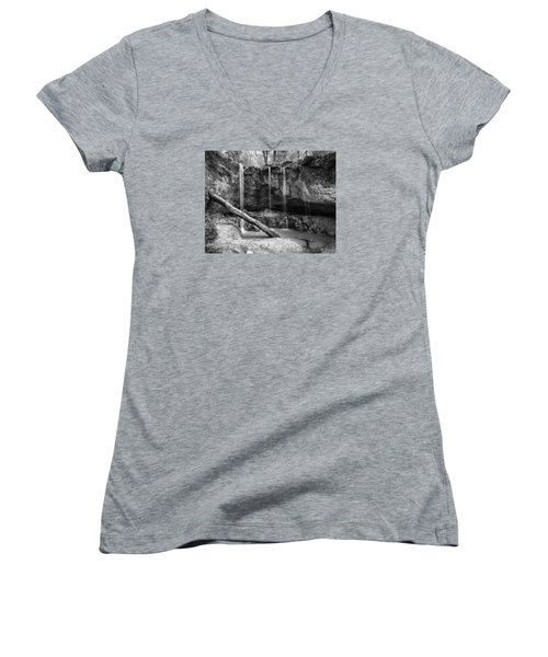 Women's V-Neck T-Shirt (Junior Cut) featuring the photograph Clark Creek Nature Area Waterfall No. 2 In Black And White by Andy Crawford