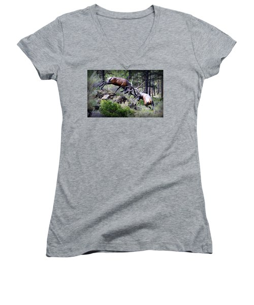 Women's V-Neck T-Shirt featuring the photograph Clash Of The Titans by AJ Schibig