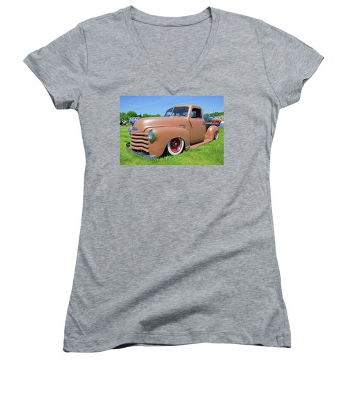 Classic Chevrolet Truck Women's V-Neck T-Shirt (Junior Cut) by Marion Johnson