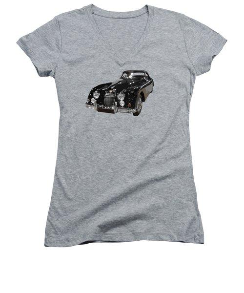 Classic Jaguar In Black Art Women's V-Neck (Athletic Fit)