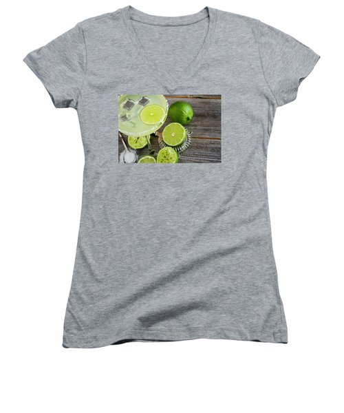 Women's V-Neck T-Shirt (Junior Cut) featuring the photograph Classic Lime Margarita by Teri Virbickis