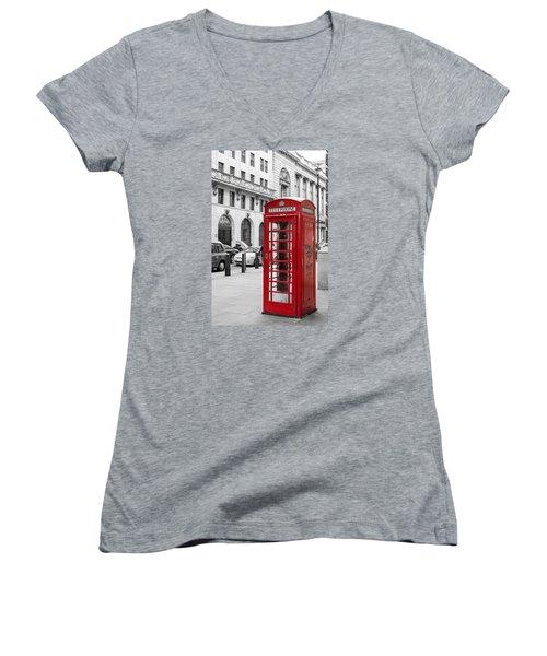 Red Telephone Box In London England Women's V-Neck T-Shirt (Junior Cut) by John Williams