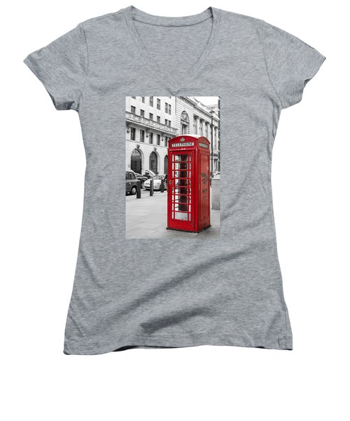 Red Telephone Box In London England Women's V-Neck
