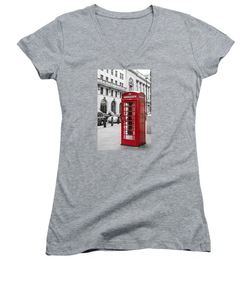 Red Telephone Box In London England Women's V-Neck (Athletic Fit)