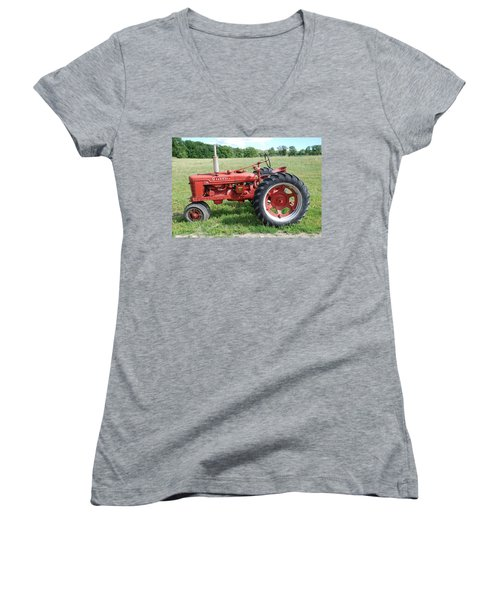 Classic Tractor Women's V-Neck T-Shirt (Junior Cut) by Richard Bryce and Family