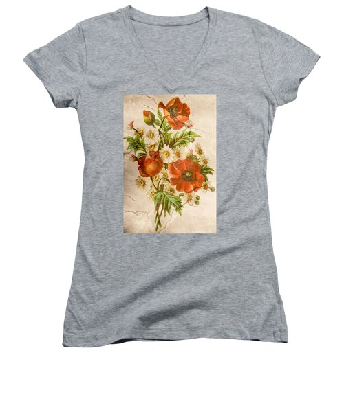 Classic Vintage Shabby Chic Rustic Poppy Bouquet Women's V-Neck