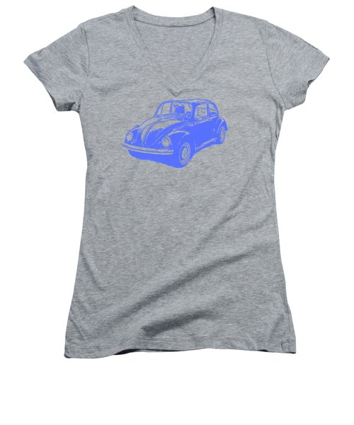 Classic Vw Beetle Tee Blue Ink Women's V-Neck T-Shirt (Junior Cut) by Edward Fielding