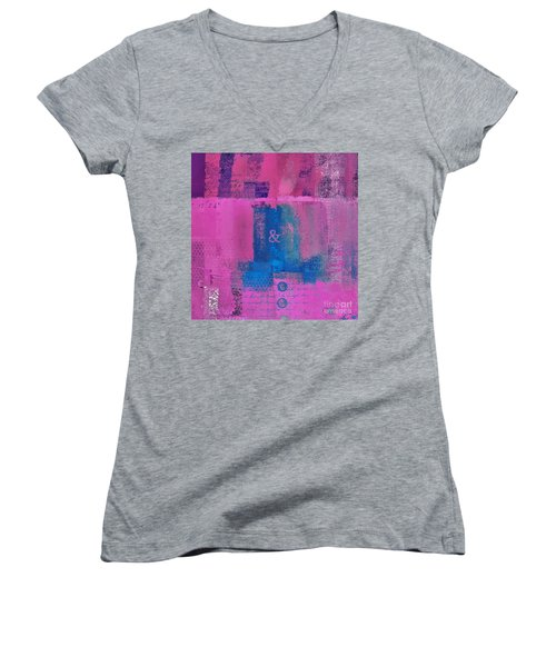 Women's V-Neck T-Shirt (Junior Cut) featuring the digital art Classico - S0307d by Variance Collections