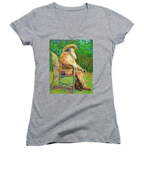 Claude Monet In His Garden Women's V-Neck
