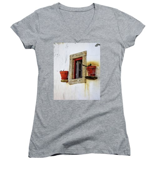 Clay Pots In A Portuguese Village Women's V-Neck T-Shirt