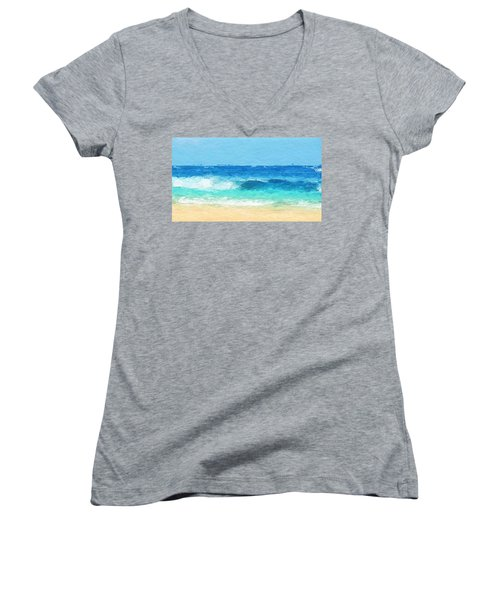 Clear Blue Waves Women's V-Neck T-Shirt (Junior Cut) by Anthony Fishburne
