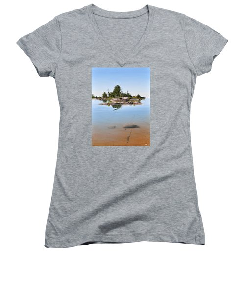 Women's V-Neck T-Shirt (Junior Cut) featuring the painting Clear Contentment by Kenneth M Kirsch