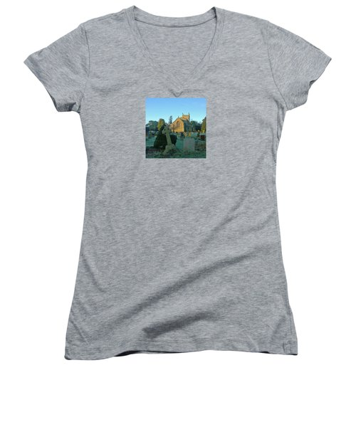 Clear Light In The Graveyard Women's V-Neck T-Shirt (Junior Cut) by Anne Kotan