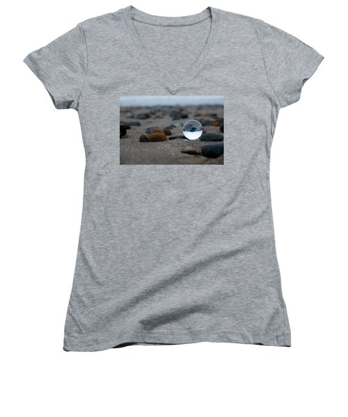 Women's V-Neck T-Shirt featuring the photograph Clear Rock by Lora Lee Chapman