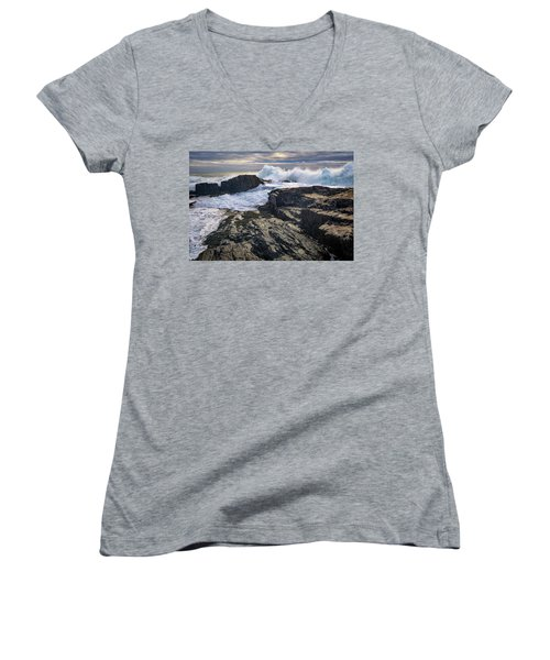 Women's V-Neck T-Shirt (Junior Cut) featuring the photograph Clearing Storm At Bald Head Cliff by Rick Berk