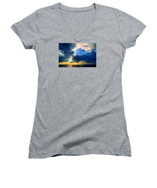 Clearing Storm Halibut Pt. Women's V-Neck T-Shirt (Junior Cut) by Michael Hubley