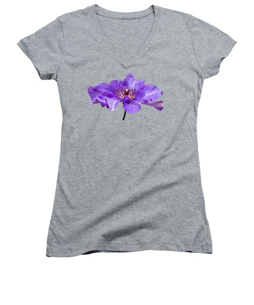 Women's V-Neck T-Shirt (Junior Cut) featuring the photograph Clematis by Scott Carruthers
