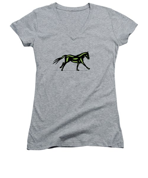 Clementine - Pop Art Horse - Black, Geenery, Hazelnut Women's V-Neck (Athletic Fit)