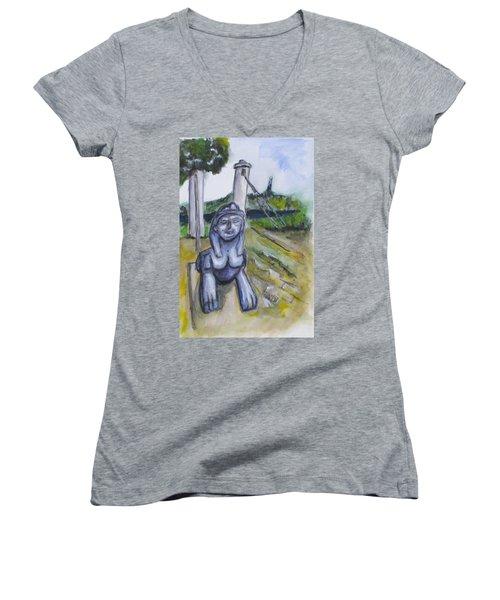 Cleopatra Bridge Ruins, Gaeta Italy Women's V-Neck T-Shirt (Junior Cut) by Clyde J Kell