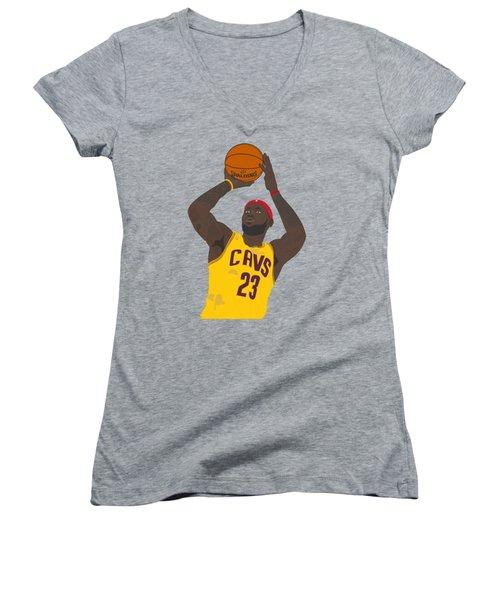 Cleveland Cavaliers - Lebron James - 2014 Women's V-Neck T-Shirt (Junior Cut) by Troy Arthur Graphics